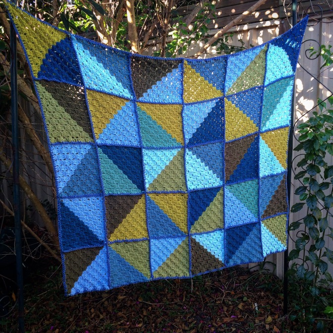 Finished: Blue Corner to Corner Kaleidoscope Blanket