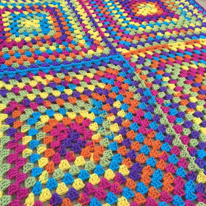 Finished: Rainbow Granny Blanket