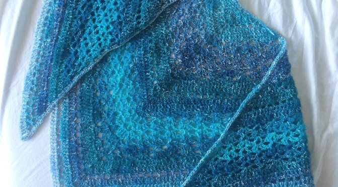 Finished: Cat-played-with-yarn-so-had-to-make-shawl